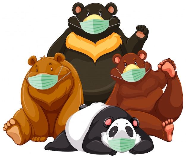Quatre Types De Personnage De Dessin Animé Ours Portant Un Masque Vecteur Premium