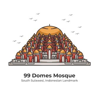 Quatre-vingt-dix-neuf dômes mosquée repère indonésien illustration de ligne mignonne
