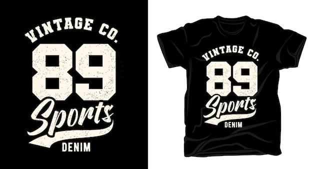 Quatre-vingt neuf conception de t-shirt de typographie en denim de sport