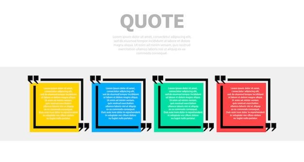 Quatre zones colorées pour le texte. ci-dessus est un texte gris.