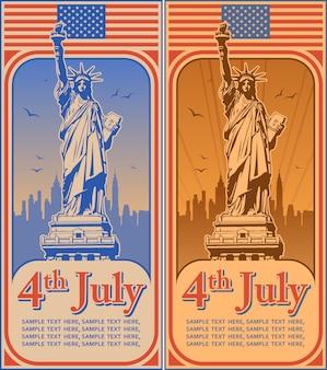 Quatrième de juillet fête de l'indépendance des usa, statue de la liberté, maison de vacances, illustration