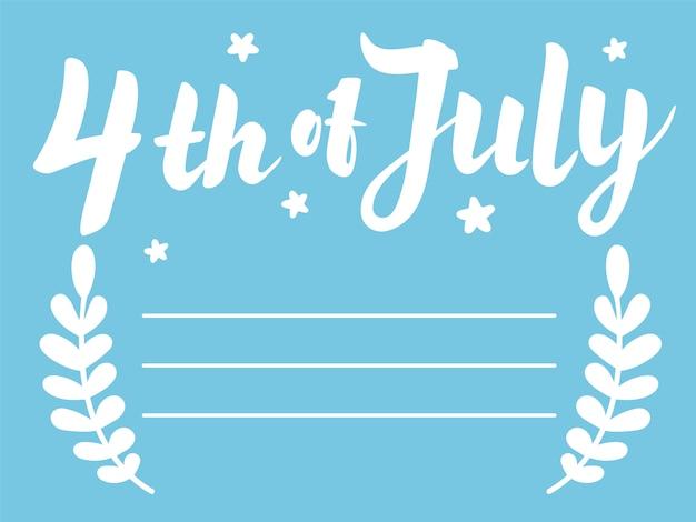 Quatrième de juillet lettrage sur fond bleu avec étoiles et feuilles