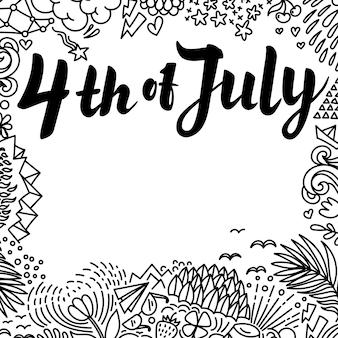 Quatrième de juillet lettrage de papier sur fond blanc avec des griffonnages dessinés à la main