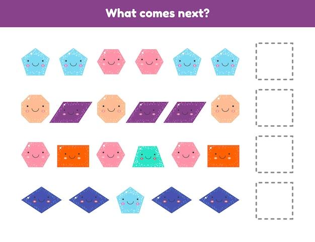 Que ce passe t-il après. continuez la séquence. formes géométriques. feuille de travail pour les enfants.