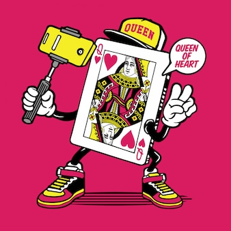 Queen of heart card selfie personnage