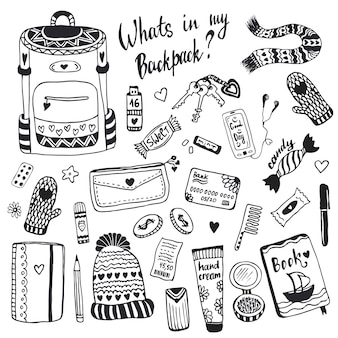 Quel est mon sac à dos. jeu de choses mignon doodle hipster vectorielles.