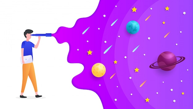 Quelqu'un regarde l'espace à travers un télescope