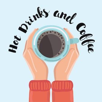 Quelqu'un, tenue, mains, tasse, café