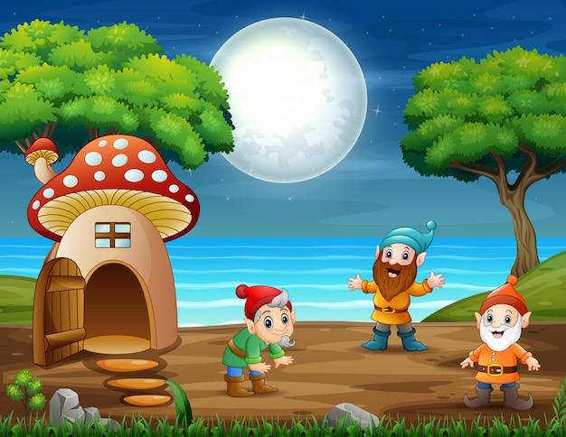Quelques gnomes drôles dans les bois la nuit