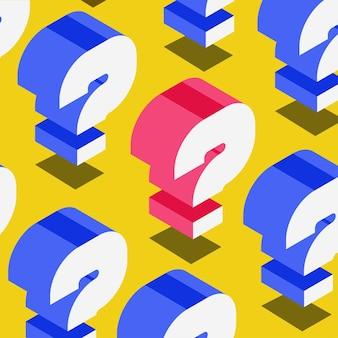 Question fond de quiz style isométrique symbole examen test bulle texte aide signe faq bannière