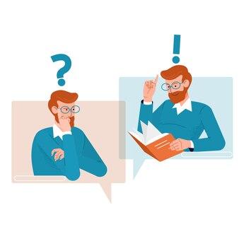 Question et réponse concept. icônes de personnes avec des bulles de dialogue coloré.