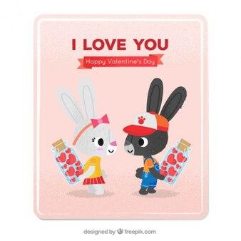 Le questionnaire avec des lapins dans l'amour
