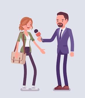 Questions d'interview d'un journaliste de télévision masculin