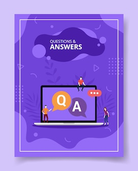 Questions et réponses des gens debout assis sur un ordinateur portable q et a texte sur écran, affiche.