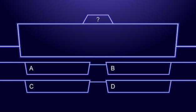 Questions et réponses modèle vectoriel style néon pour l'examen de jeu de quiz émission de télévision test d'examen scolaire