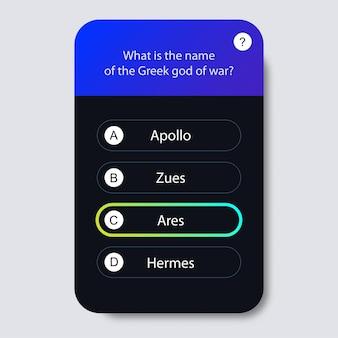 Questions et réponses style néon pour app test de jeu de quiz mobile émission de télévision test d'examen scolaire vecteur