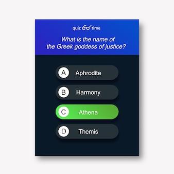Questions et réponses style néon pour l'application de jeu de quiz examen mobile émission de télévision test d'examen scolaire vecteur