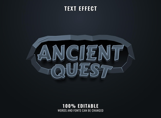 Quête ancienne 3d avec effet de texte de titre de logo de jeu de cadre en pierre