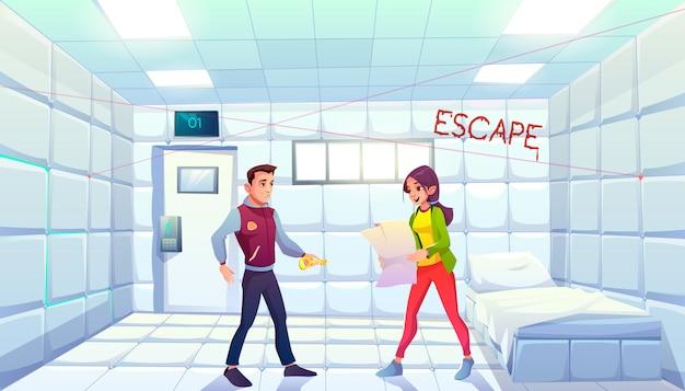 Quête échapper à la chambre d'asile avec des personnes cherchant la sortie