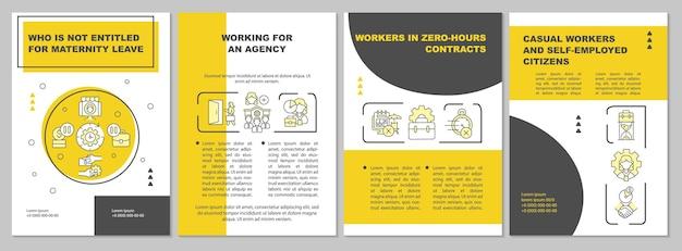 Qui n'a pas droit au modèle de brochure jaune pour le congé de maternité. flyer, brochure, dépliant imprimé, conception de la couverture avec des icônes linéaires. dispositions vectorielles pour la présentation, les rapports annuels, les pages de publicité