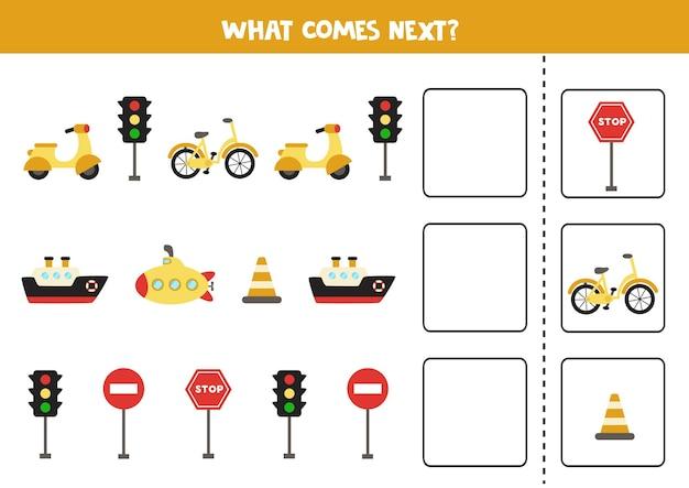 Ce qui vient au prochain jeu avec des moyens de transport de dessins animés. jeu de logique éducatif pour les enfants.
