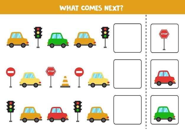 Ce qui vient au prochain jeu avec des voitures colorées et des panneaux de signalisation