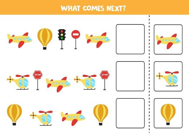 Ce qui vient au prochain match avec les moyens de transport aérien. jeu de logique éducatif pour les enfants.