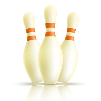 Quilles de bowling sur blanc