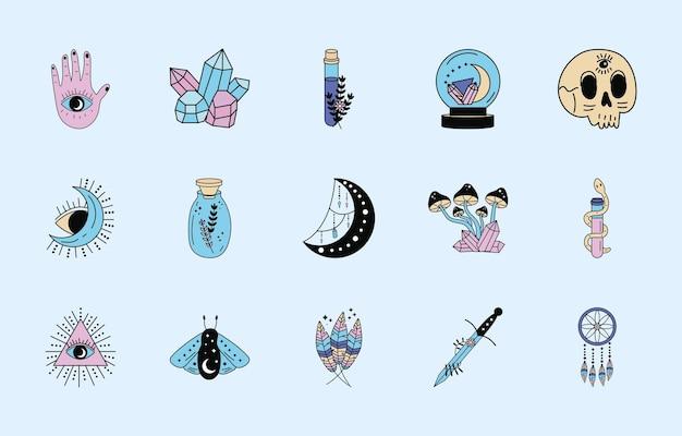 Quinze icônes de jeu de magie ésotérique