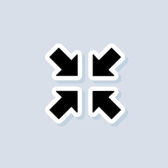 Quitter l'autocollant plein écran. icône d'entrée ou de sortie en plein écran. maximiser ou réduire le symbole. vecteur sur fond isolé. eps 10.
