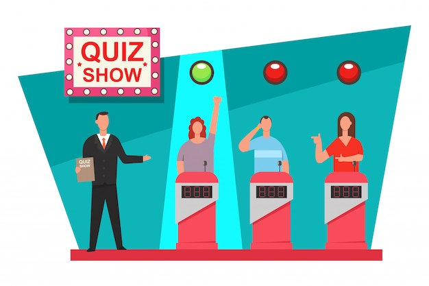 Quiz game tv show flat illustration