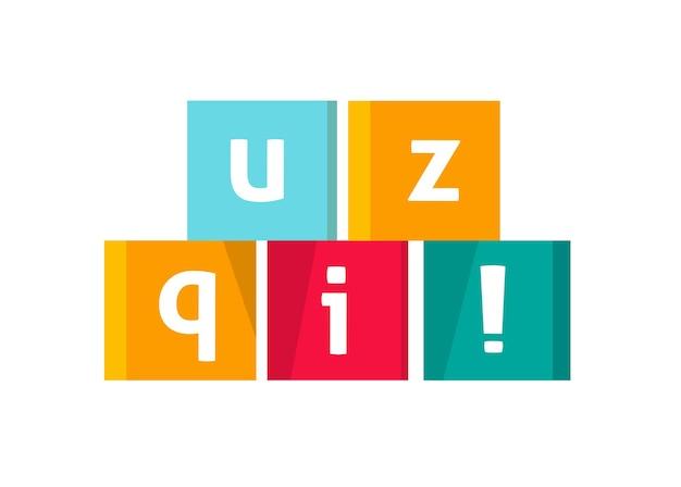 Quiz logo icône texte vectoriel en cubes jeu symbole illustration de dessin animé plat