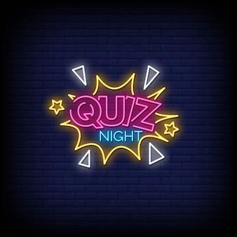 Quiz night neon signs style texte
