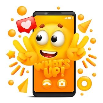 Quoi de neuf. personnage emoji de dessin animé jaune. modèle d'application pour smartphone.