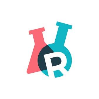 R lettre laboratoire verrerie bécher logo vector illustration icône