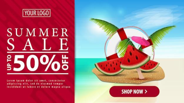 Rabais d'été, bannière de remise horizontale avec un bouton pour votre site web