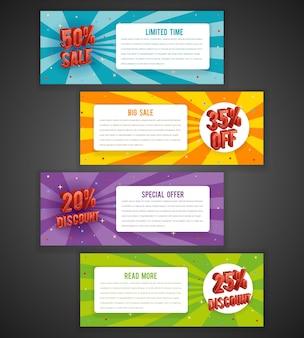 Rabais flyer ou conceptions de bannière de vente. offre spéciale avec pour cent de réduction.