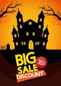 Rabais sur les soldes d'halloween, trente pour cent de réduction, avec château hanté