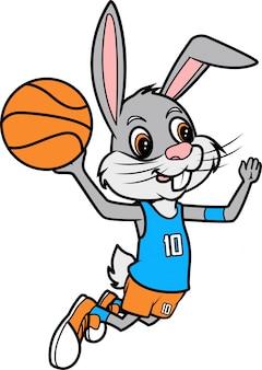 Rabbit slam dunk, illustration d'art de ligne de basket-ball pour livre à colorier ou page