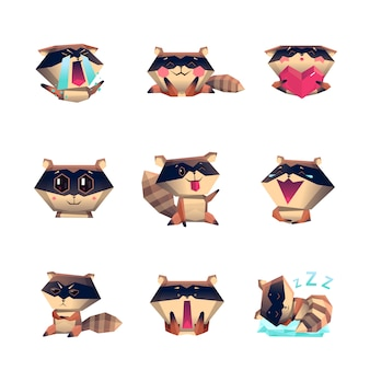 Raccoon cartoon character set