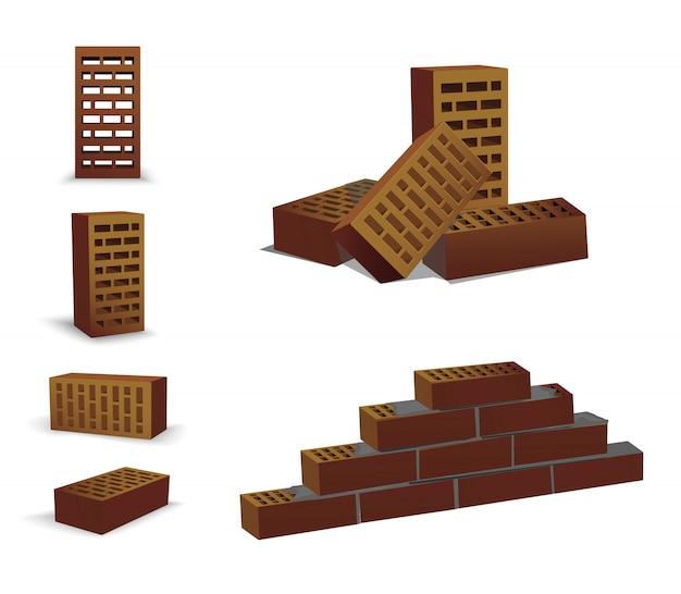 Raccourci de brique différent, haut et devant. briques brunes sur blanc