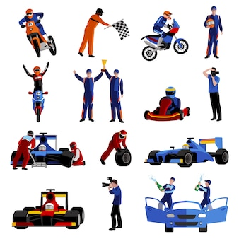 Race Icons Set Vecteur gratuit