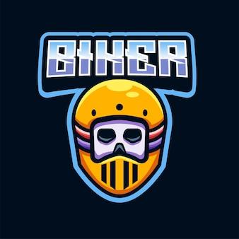 Racer skull head logo illustration