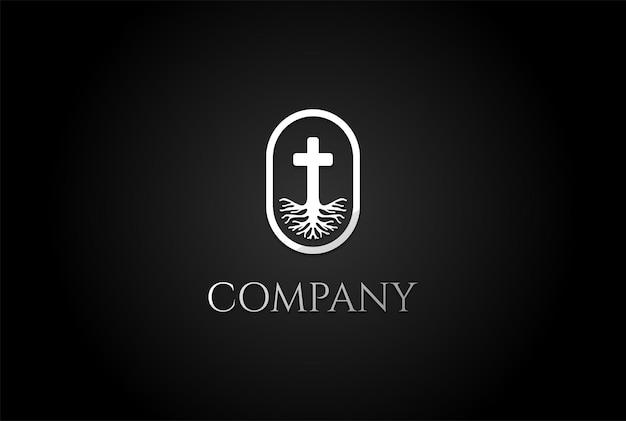 Racine vie christian jésus croix église chapelle religion logo design vector