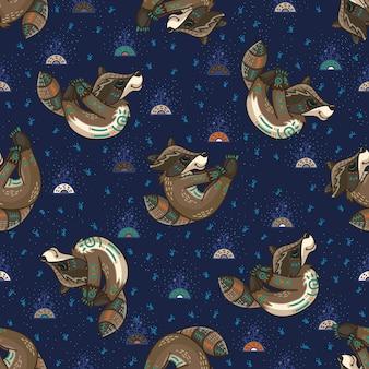 Racoons tribaux mignons. modèle sans couture