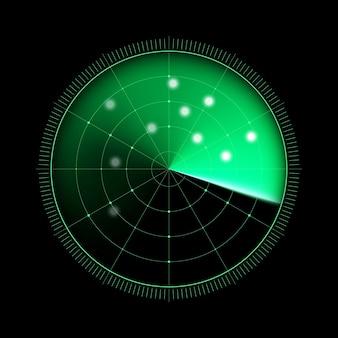 Radar vert isolé sur fond sombre