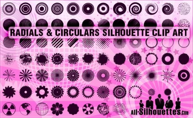 Radiales et circulaires silhouettes des cliparts