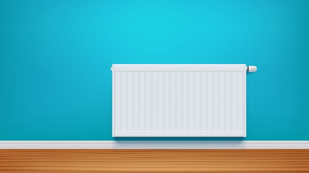 Radiateur sur mur bleu