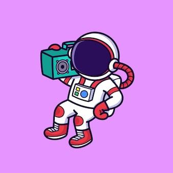 Radio écoute astronaute mignon isolé sur rose