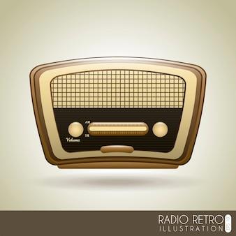 Radio rétro sur illustration vectorielle fond gris